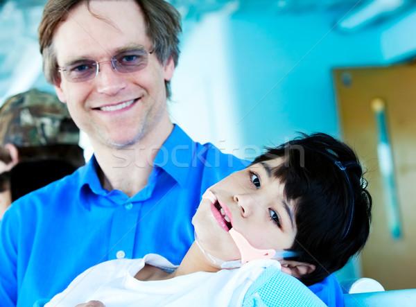 Zdjęcia stock: Przystojny · ojciec · czterdziestki · niepełnosprawnych · syn