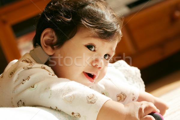 Jóképű baba pocak boldog fiatal ázsiai Stock fotó © jarenwicklund