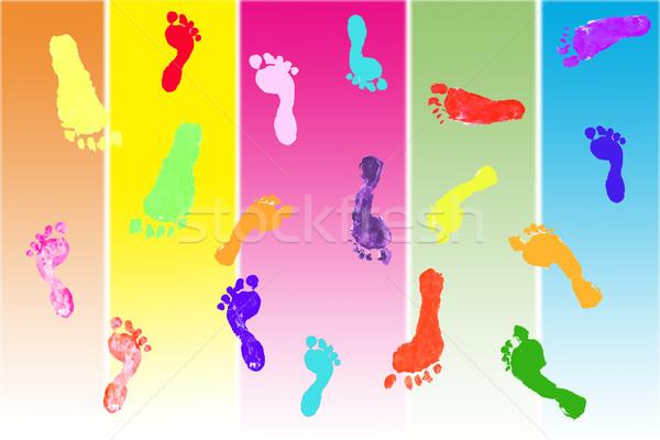 Ayak izi renkli ayak izleri çocuklar çocuk dizayn Stok fotoğraf © jarenwicklund