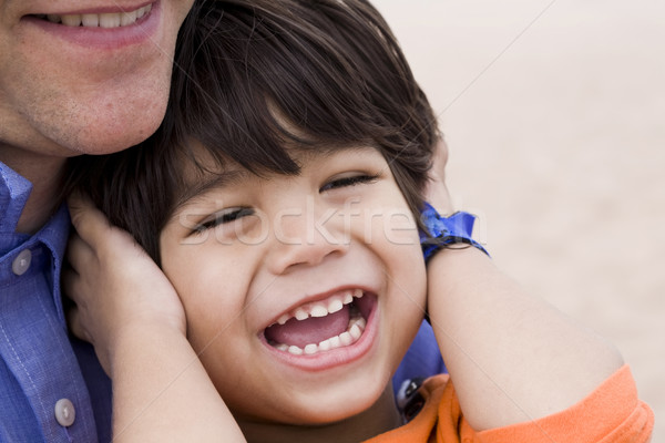 Father and son laughing together Stock photo © jarenwicklund