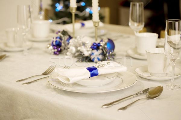 élégante bleu blanche Noël table lumière Photo stock © jarenwicklund