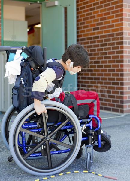 Disabled kindergartener in wheelchair on playground at recess Stock photo © jarenwicklund