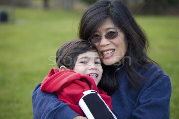 красивой азиатских матери инвалидов сын Сток-фото © jarenwicklund