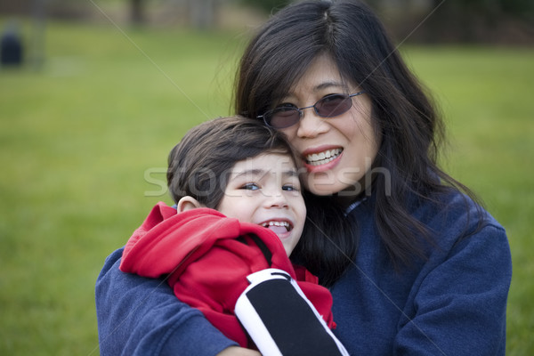 Belle asian mère handicapées fils Photo stock © jarenwicklund
