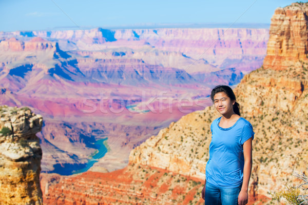 Young teen girl standing at the Grand Canyon Stock photo © jarenwicklund