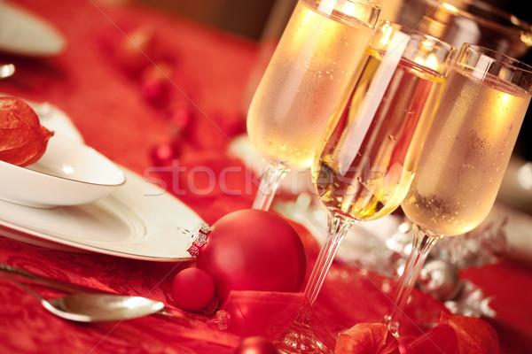 Elegáns karácsony asztal piros dísz szemüveg Stock fotó © jarenwicklund