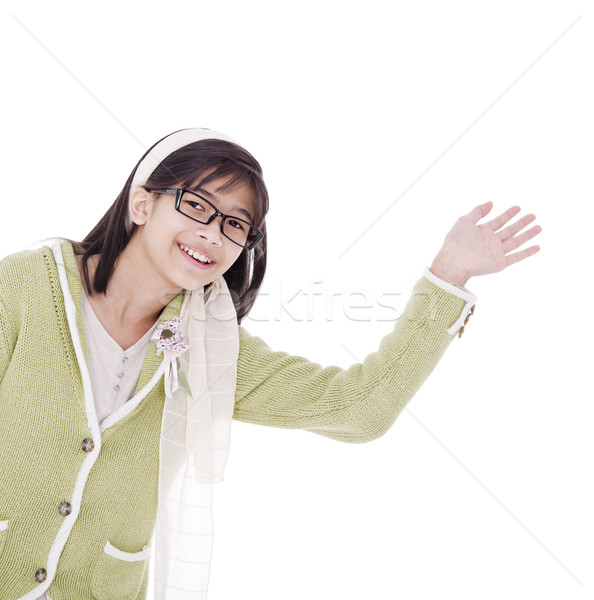 Girl in green sweater waving a warm welcome, isolated Stock photo © jarenwicklund