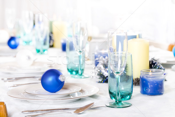 Noël table blues bleu blanche Photo stock © jarenwicklund