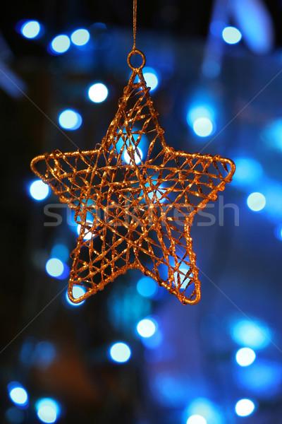 Altın star süs Noel ışıklar Stok fotoğraf © jarenwicklund