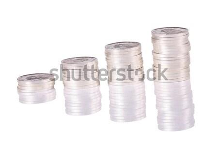 Boglya merő ezüst érmék felfelé fehér Stock fotó © jarenwicklund