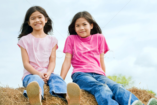 Deux jeunes filles séance haut amis Photo stock © jarenwicklund