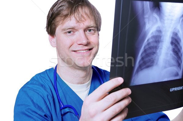 Male doctor looking at xray Stock photo © jarenwicklund