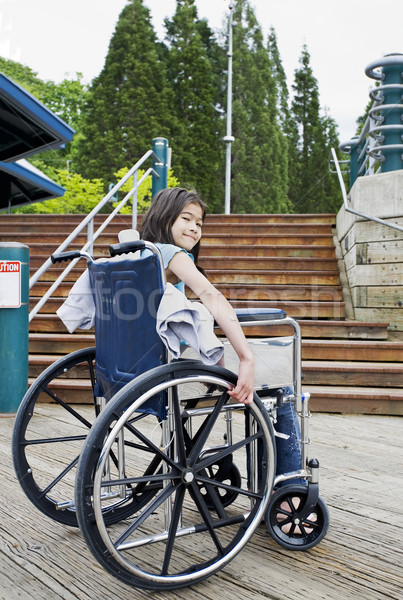 Young girl in wheelchair in front of stairs Stock photo © jarenwicklund