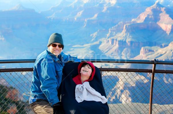 Apa mozgássérült fiú tolószék Grand Canyon Arizona Stock fotó © jarenwicklund
