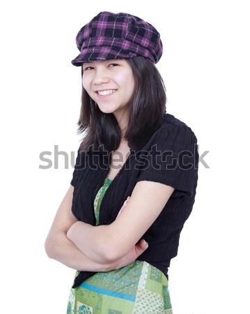 ストックフォト: 小さな · 十代の少女 · 笑みを浮かべて · 着用 · 帽子