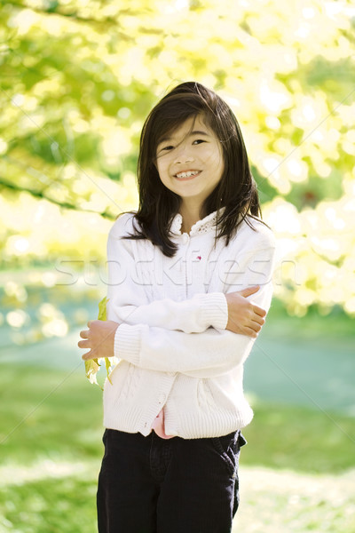 Little biracial asian girl standing amongst bright autumn leaves Stock photo © jarenwicklund