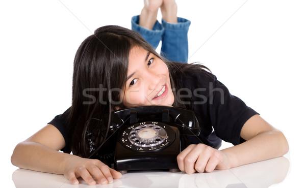 若い女の子 古い 電話 幸せ 子 電話 ストックフォト © jarenwicklund