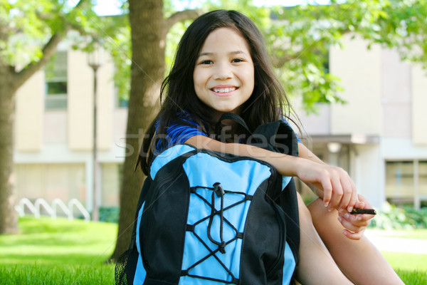 Eight year old girl excited about first day of school Stock photo © jarenwicklund