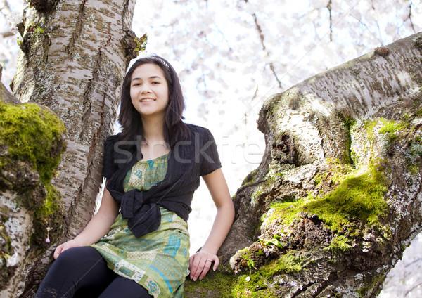 молодые подростка девушка сидят цветения Вишневое Сток-фото © jarenwicklund
