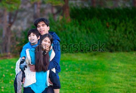 Zdjęcia stock: Niepełnosprawnych · mały · chłopca · wózek · brat · siostry