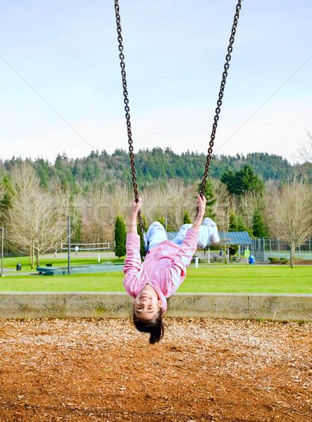 Mutlu küçük Asya kız park Stok fotoğraf © jarenwicklund