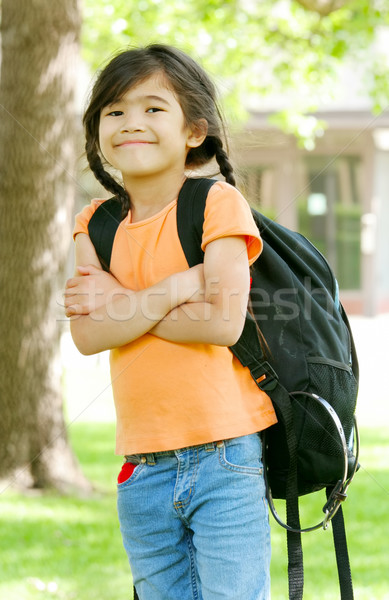 Cute biracial five year old with backpack at school Stock photo © jarenwicklund