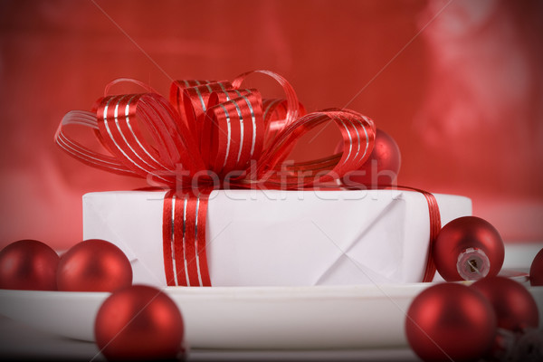 Stockfoto: Witte · aanwezig · Rood · diner · plaat