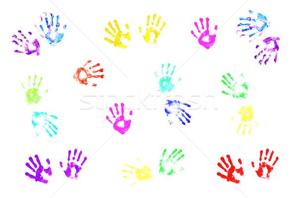 ストックフォト: カラフル · 子供 · 白 · 子 · 塗料 · 背景
