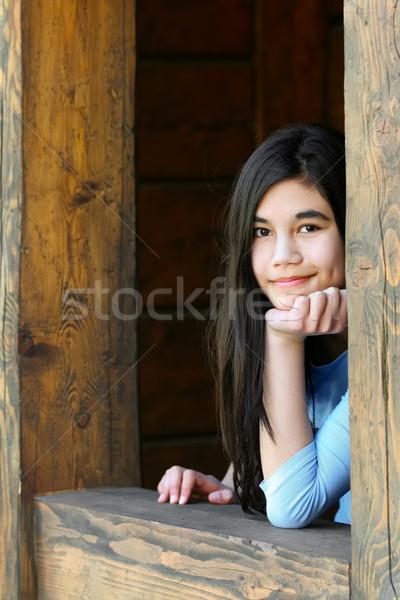 小さな 代 美しい 十代の少女 リラックス ポーチ ストックフォト © jarenwicklund
