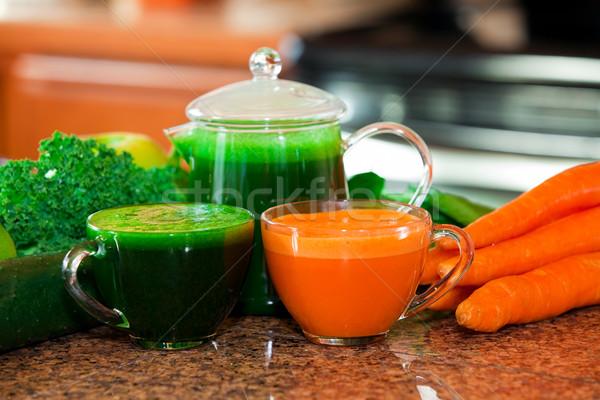 2 カップ ジュース キッチンカウンター 野菜 ストックフォト © jarenwicklund