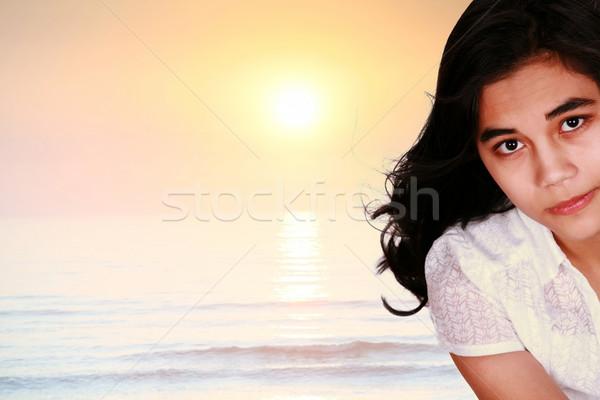 Teen girl ocean Świt wygaśnięcia poważny Zdjęcia stock © jarenwicklund