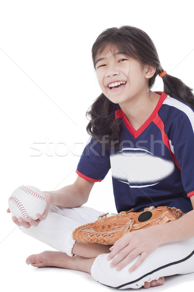 Little league softball player holding ball Stock photo © jarenwicklund