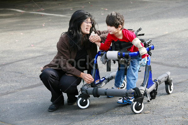 Mother with disabled son walking outdoors with medical walker Stock photo © jarenwicklund