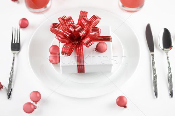 Cadeau plaque table décorations blanche présents Photo stock © jarenwicklund
