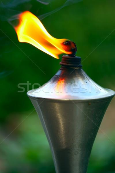 Lampe de poche orange flamme jardin utilisé moustiques Photo stock © jarenwicklund