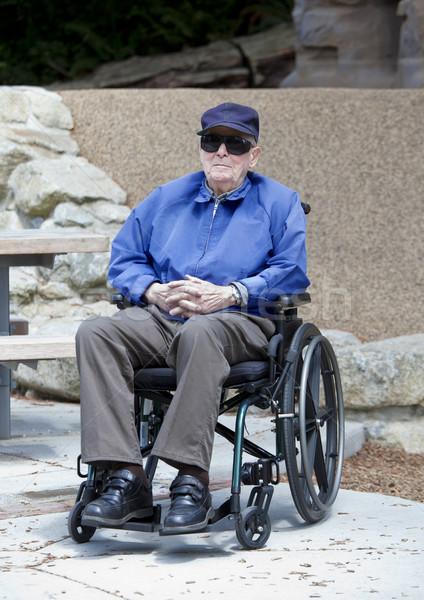 高齢者 シニア 男 車いす 座って 外 ストックフォト © jarenwicklund