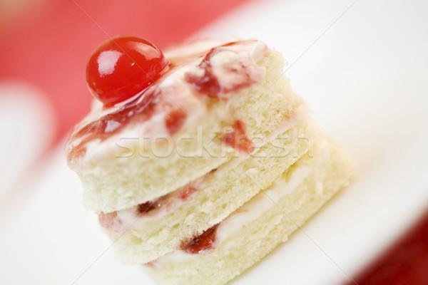 три слой формы сердца торт пластина Сток-фото © jarenwicklund