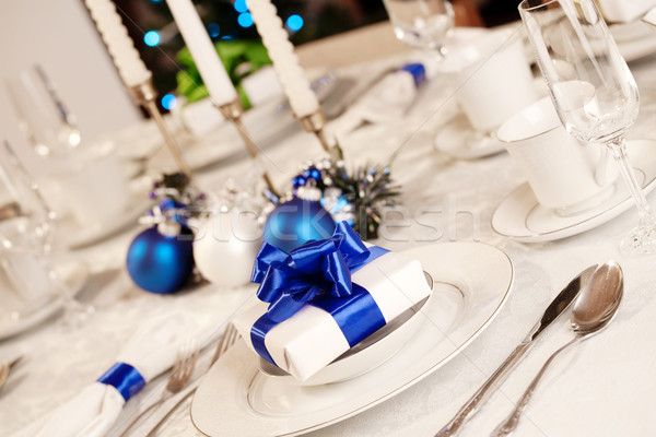 Zarif mavi beyaz Noel tablo ışık Stok fotoğraf © jarenwicklund