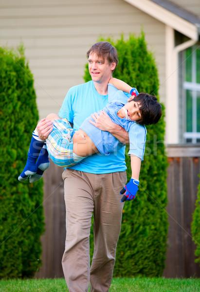 Zdjęcia stock: Ojciec · niepełnosprawnych · syn · odkryty · siedem