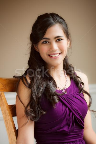 美しい 若い女性 リラックス 椅子 紫色 ドレス ストックフォト © jarenwicklund