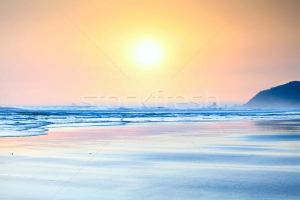 Beautiful yellow orange sunset on ocean beach. Stock photo © jarenwicklund