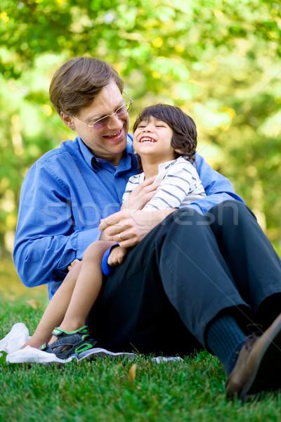Zdjęcia stock: Biznesmen · niepełnosprawnych · syn · trawy · dziecko