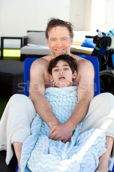 Apa el kék mozgássérült fiú oldal Stock fotó © jarenwicklund