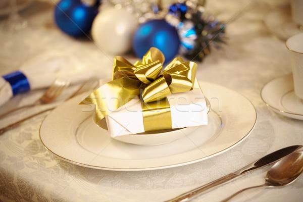 Сток-фото: элегантный · синий · белый · Рождества · таблице · золото