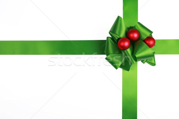 Green satin ribbon and bow Stock photo © jarenwicklund