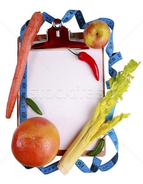 Gesunde Ernährung Früchte Gemüse Zwischenablage Maßband Text Stock foto © jarenwicklund