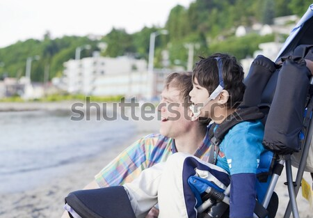 Five year old disabled boy going to school Stock photo © jarenwicklund