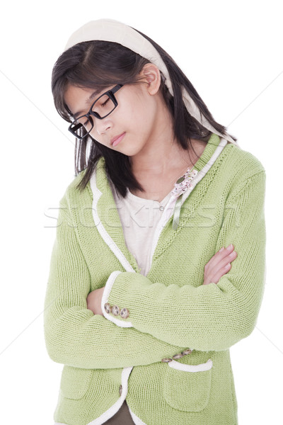 Girl in green sweater sleeping while standing Stock photo © jarenwicklund