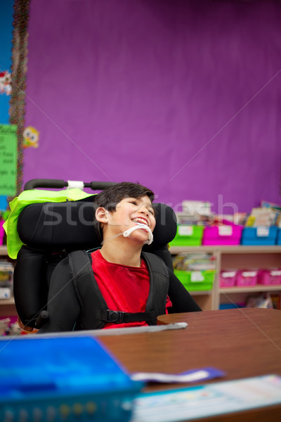 Disabled boy in first grade classroom Stock photo © jarenwicklund