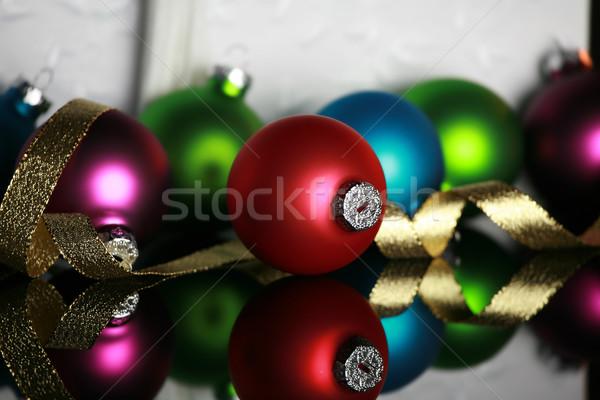 Noël ornements or ruban réfléchissant surface Photo stock © jarenwicklund